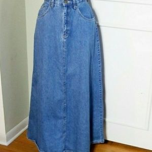 Vintage 80s 90s Denim Maxi Jean Skirt